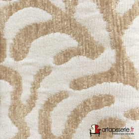 Tissus Froca - Broni 01 Blanc - Beige, Au mètre - Tissus ameublement