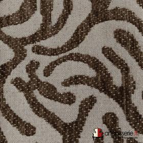 Tissus Froca - Broni 03 Gris / Marron foncé, Au mètre - Tissus ameublement