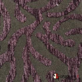 Tissus Froca - Broni 12 Gris/Aubergine, Au mètre - Tissus ameublement