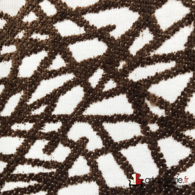 Tissus Froca - Gabanna 09 Marron/blanc - Tissus ameublement