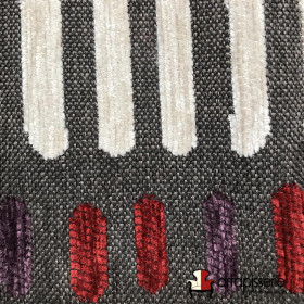 Tissus Froca - Bassano 04 Gris et beige/rouge/violet - Tissus ameublement