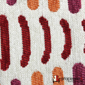 Tissus Froca - Bassano 06 Beige et orange/rouge - Tissus ameublement