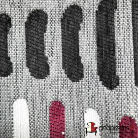 Tissus Froca - Bassano 11 Gris et blanc/rose - Tissus ameublement