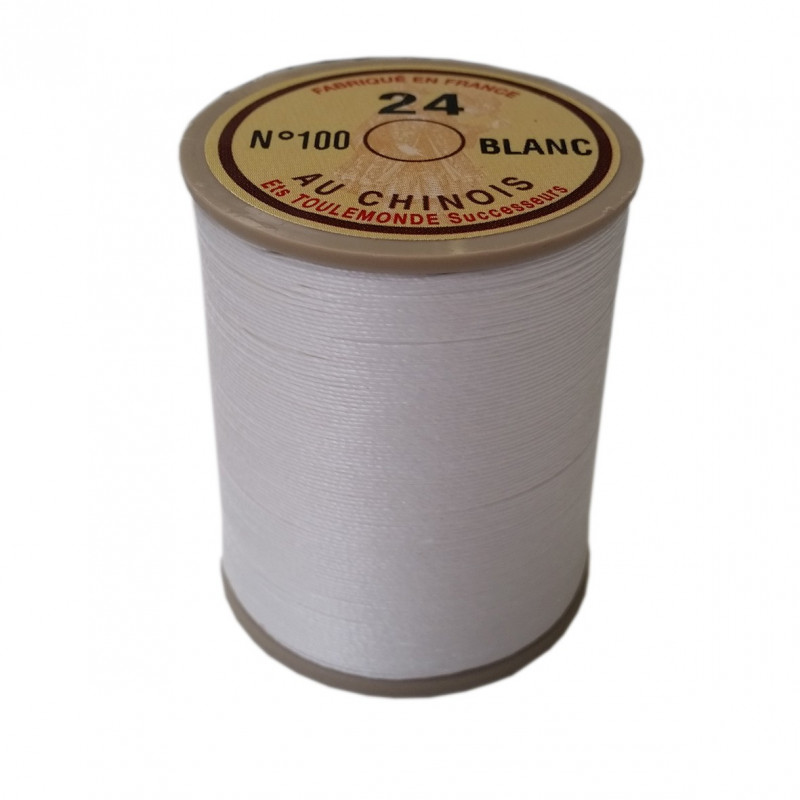 """Fil de lin 24 Blanc 100 \\""""Au Chinois\\"""" - bobine de 265 mètres à 19,90 €"""