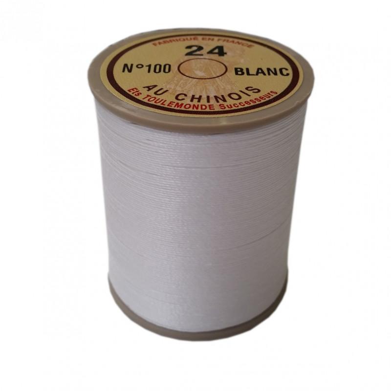 Fil de lin au chinois retors n°24 extra glacé - Blanc 100 - Mercerie