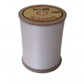"Fil de lin 40 Blanc 100 \\""Au Chinois\\"" - bobine de 350 mètres - Mercerie"