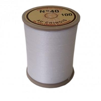 "Fil de lin 40 Blanc 100 ""Au Chinois"" - bobine de 350 mètres"