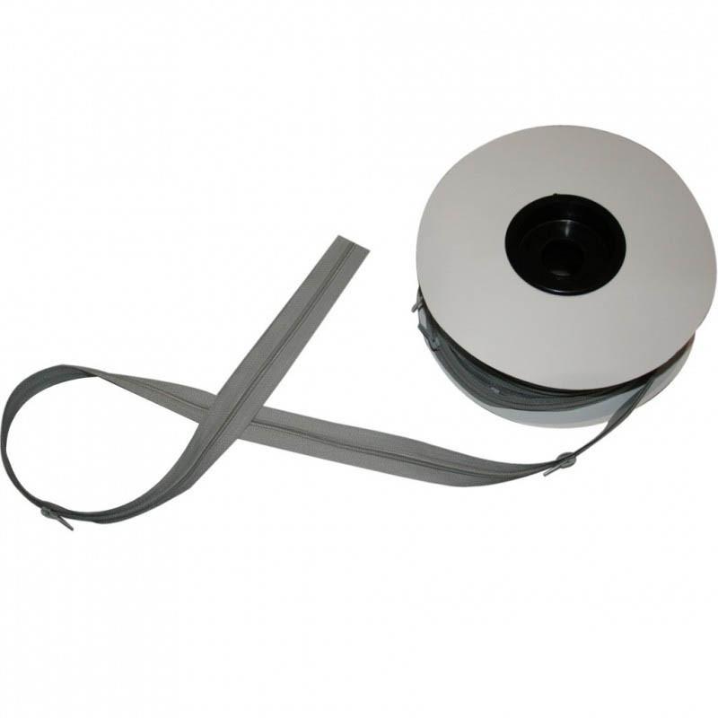 Fermeture à glissière gris clair 5 mm, les 25 mètres - Mercerie