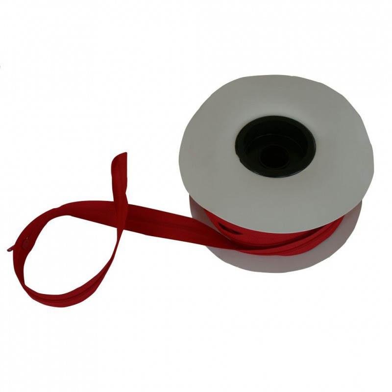 Fermeture à glissière rouge vif 5 mm, les 25 mètres - Mercerie