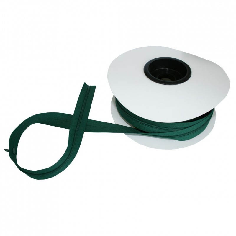 Fermeture à glissière vert 5 mm, les 25 mètres - Mercerie
