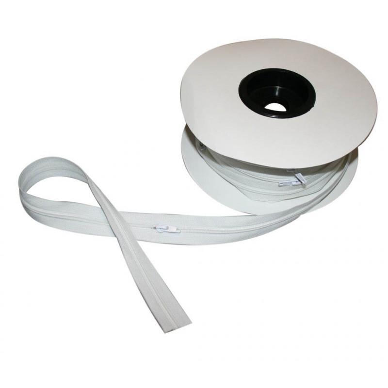 Fermeture à glissière blanc 6 mm, les 25 mètres - Mercerie