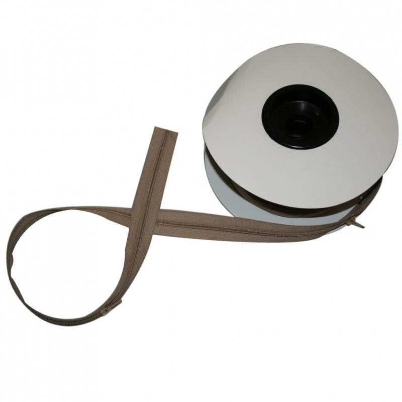 Fermeture à glissière beige 6 mm, les 25 mètres - Mercerie