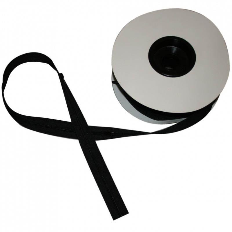 Fermeture à glissière noir 6 mm, les 25 mètres - Mercerie