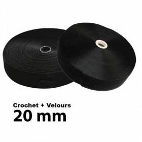 Lot Bandes auto-agrippantes à coudre 20mm Noir - Crochet + Velours - Mercerie