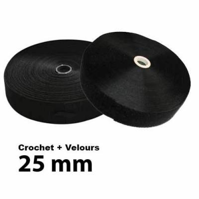 Lot Bandes auto-agrippantes à coudre 25mm Noir - Crochet + Velours