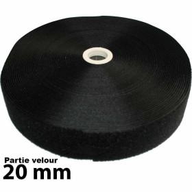 Bande auto-agrippante - Partie velours - 20mm - Rouleau de 25m - Noir - Mercerie