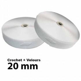 Lot Bandes auto-agrippantes - 20mm - Blanc - Crochet + Velours - Mercerie