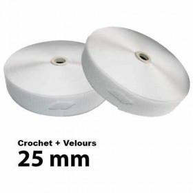 Lot Bandes auto-agrippantes - 25mm - Blanc - Crochet + Velours - Mercerie