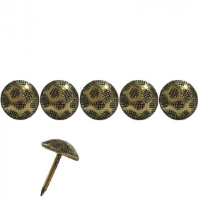 100 Clous tapissiers martelé Laiton vieilli strié 11 mm - Clous tapissier