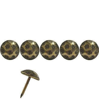 100 Clous tapissiers martelé Laiton vieilli strié 11 mm