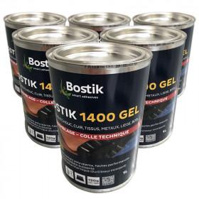 Colle néoprène gel polyvalente BOSTIK 1400 1 litre, lot de 6 - Fournitures tapissier