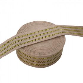 Sangle jute 70 mm à rayures jaunes, 25 mètres - Fournitures tapissier