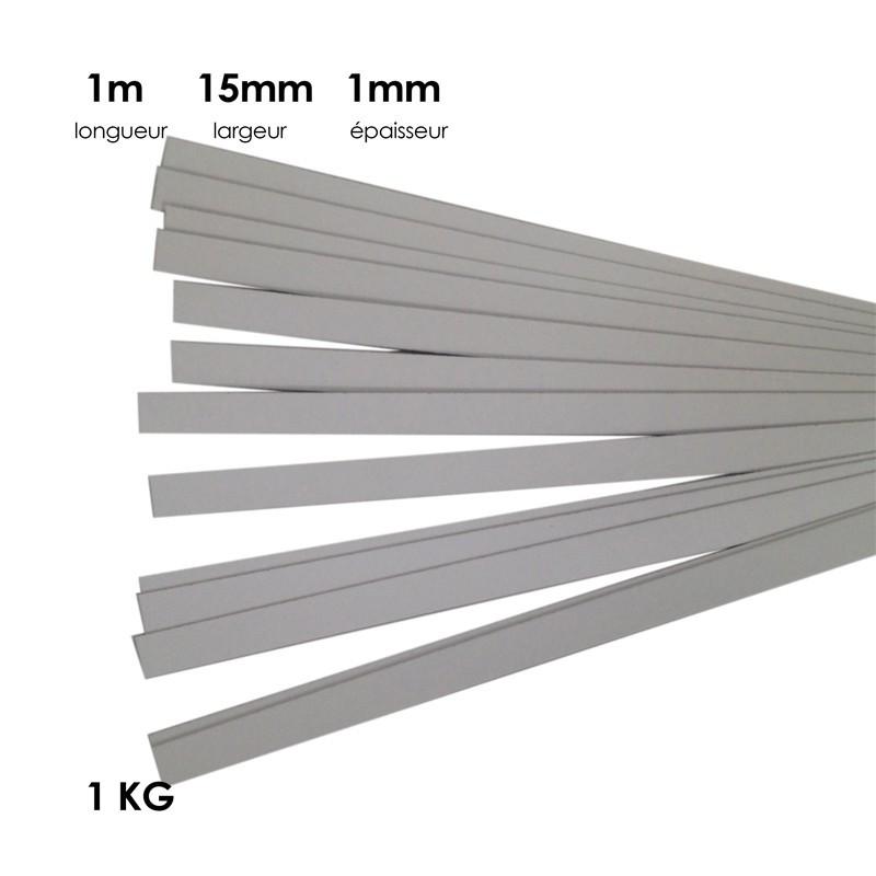 Carton à anglaiser 15x1mm, 1 kg de bandes d'1m - Fournitures tapissier