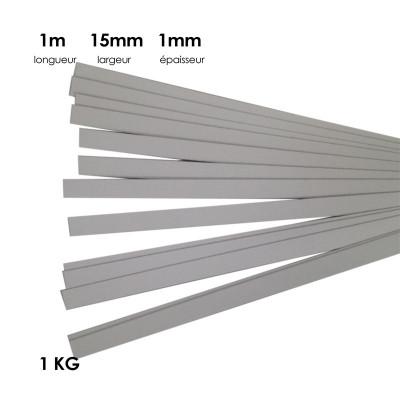 Carton à anglaiser 15x1mm, 1 kg de bandes d'1m