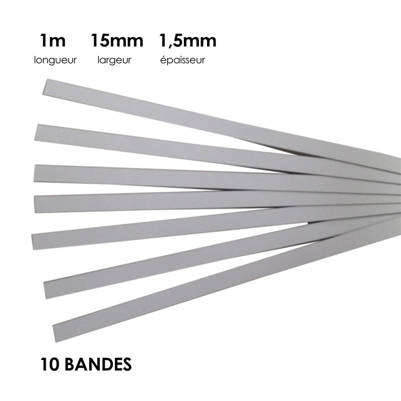 Carton à anglaiser 15x1,5 mm, 10 bandes de 1m - Fournitures tapissier