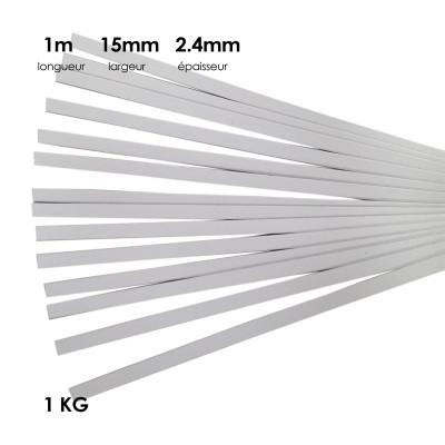 Carton à anglaiser 15x2,4 mm, 1 kg de bandes d' 1m