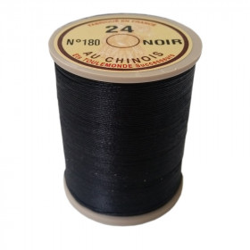 """Fil de lin 24 Noir 180 \\""""Au Chinois\\"""" - bobine de 265 mètres - Mercerie"""
