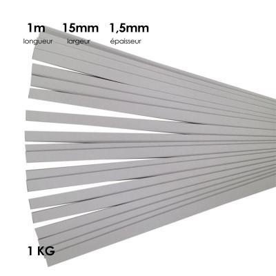 Carton à anglaiser 15x1,5 mm, 1 kg de bandes de 1m