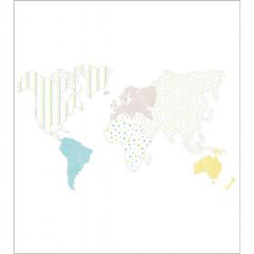 CASADECO - Alice et Paul -Panoramique planisphère - Bleu/Jaune