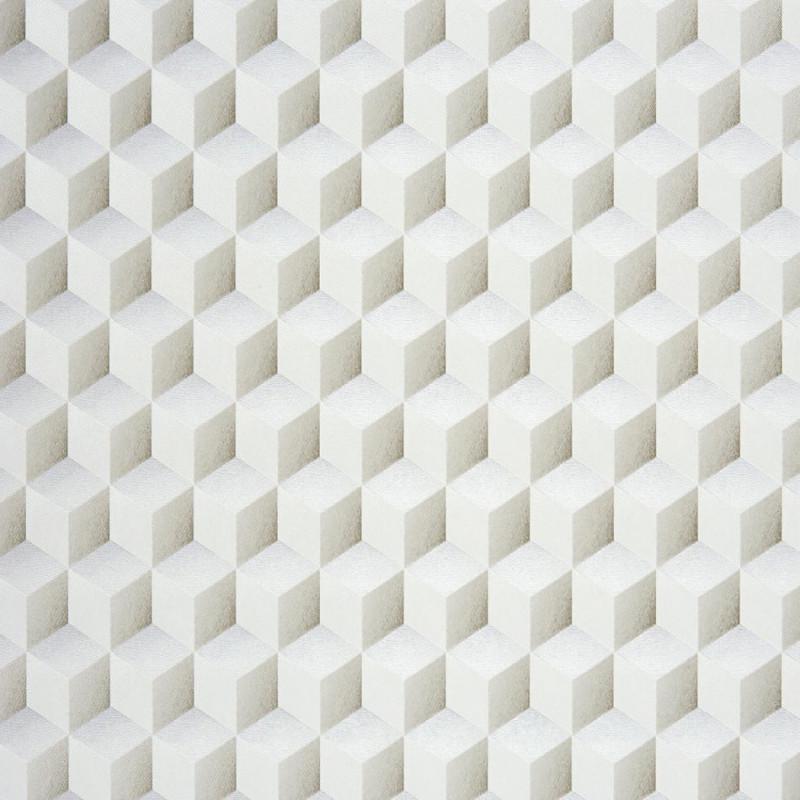 Papier Peint Casadeco Chrome Cube 3d Blanc