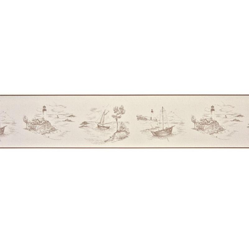 papier peint casadeco marina frise toile de jouy taupe. Black Bedroom Furniture Sets. Home Design Ideas