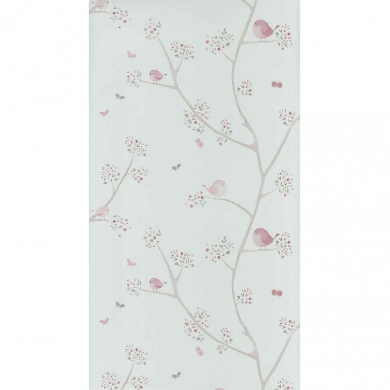 Papier Peint Casadeco My Little World Allover Oiseaux Rose