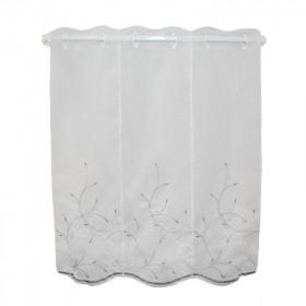 Brise bise blanc/gris broderie feuille 100% Polyester, 120cm de haut, le mètre - Tissus ameublement