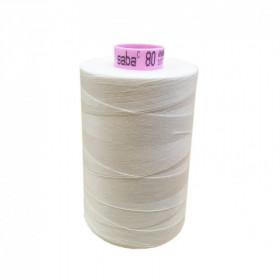 Bobine de fil SABA N°80 - Blanc Cassé 1000-5000ml - Mercerie