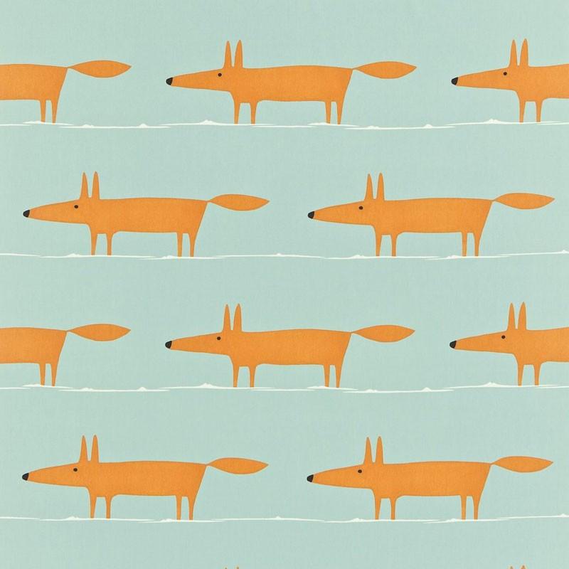 Tissu Scion Collection Melinki One - Mr Fox Sky/Tangerine/Chalk - 137 cm - Tissus ameublement