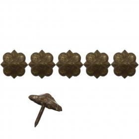 """100 clous tapissiers \\""""Ivry\\"""" Vieilli bronze Doré 20 mm - rosace - Clous tapissier"""