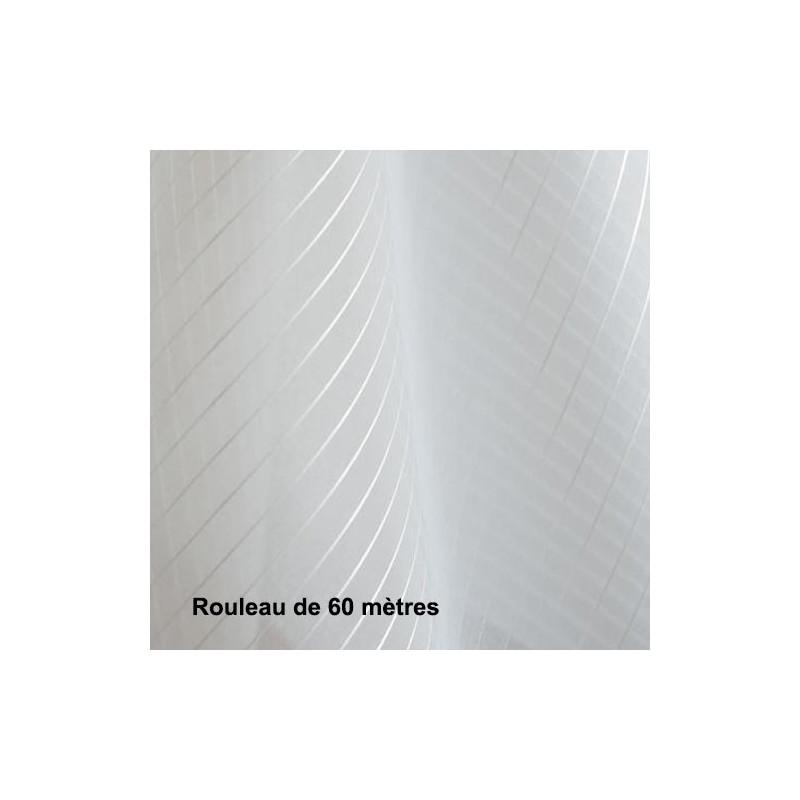 Voilage Polyester Non Feu Orga Rayure Blanc, les 60 mètres - Tissus ameublement