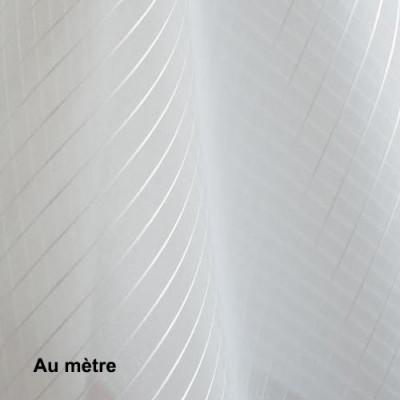 Voilage Polyester Non Feu Orga Rayure Blanc, le mètre - Tissus ameublement