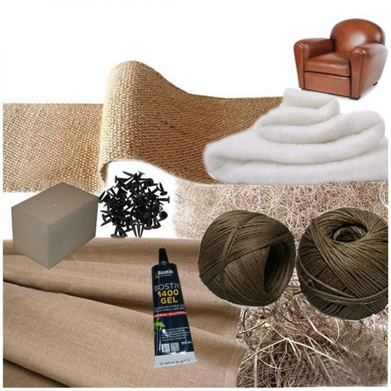 Kit Fauteuil Club avec coussin mousse confort souple/ferme - Fournitures tapissier