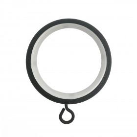 Anneau Noir Ø45 mm avec crochet pour tringle à rideau, à l'unité - Habillage de la fenêtre