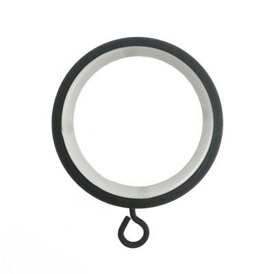 Anneau Noir Ø45 mm avec crochet pour tringle à rideau, vendu à l'unité