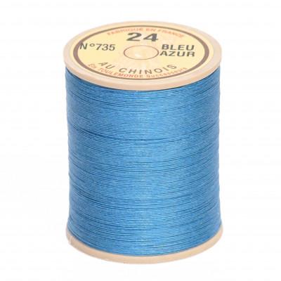 Fil de lin au chinois retors n°24 extra glacé - Bleu azur 735
