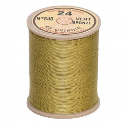 Fil de lin au chinois retors n°24 extra glacé - Vert bronze 848