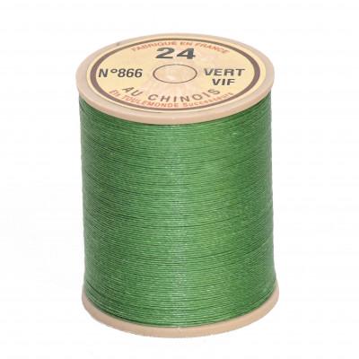 Fil de lin au chinois retors n°24 extra glacé - Vert vif 866