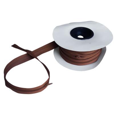 Fermeture à glissière marron cuivre 5 mm, les 25 mètres
