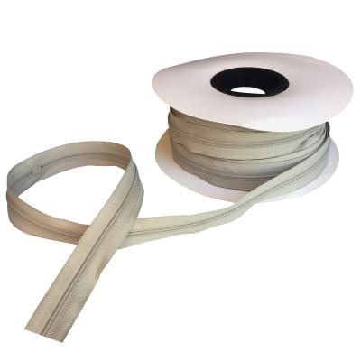 Fermeture à glissière gris fumé 5 mm, les 25 mètres
